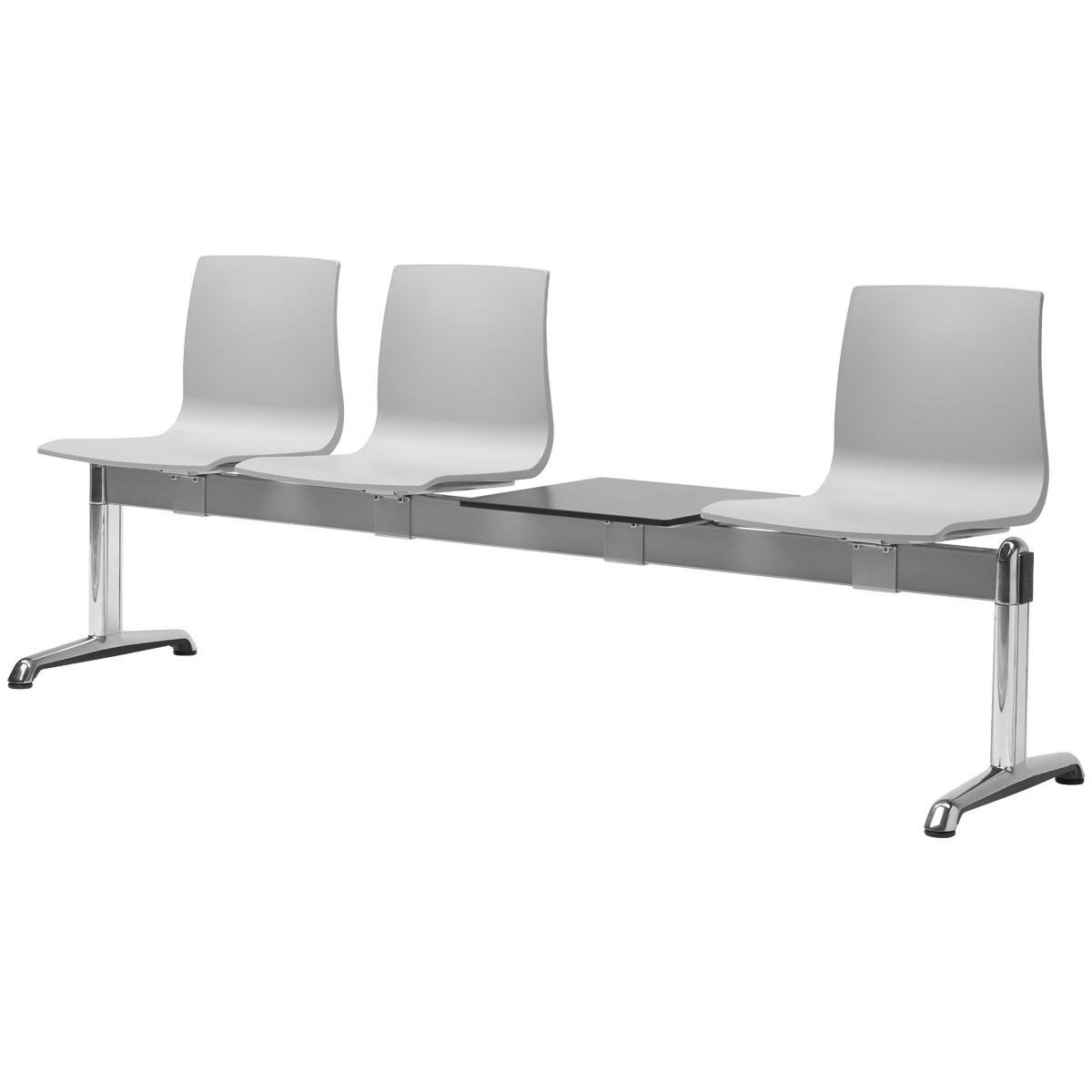 PANCA ATTESA ALICE with shelf - fire retardant seats